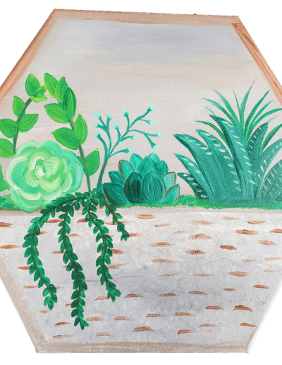 Paint Class: A Basket Of Succulents In-Person And Virtual Sip And Paint Class At Cheers N Paint In Cary, Nc