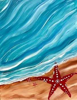 Kids Little Splatters Paint Class: Seashore Starfish: In-Person And Virtual Paint Class At Cheers N Paint In Cary, Nc
