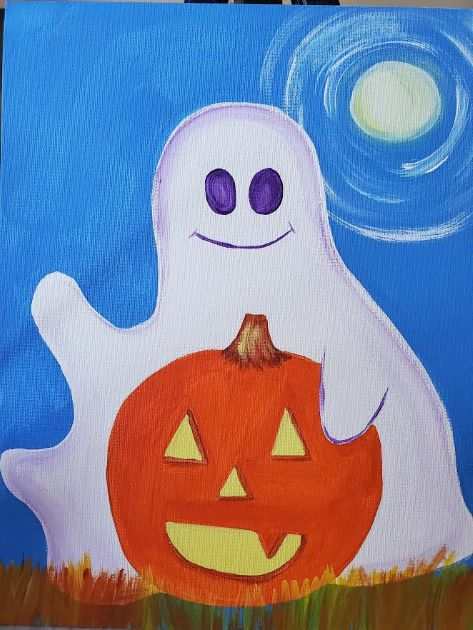 ghost-and-pumpkin-kids-paint-class-acrylic-painting