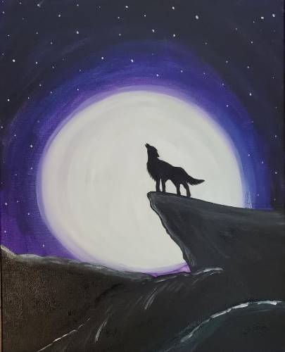 Howling Wolf in the moonlight Kids painting