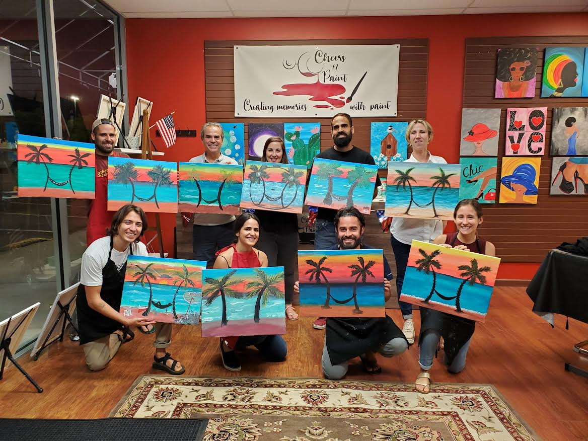 Corporate-Event-Team-Building- Topical-Beach-Family-Paint-Party-Sip-And-Paint-Cheers-N-Paint-Cary-Nc