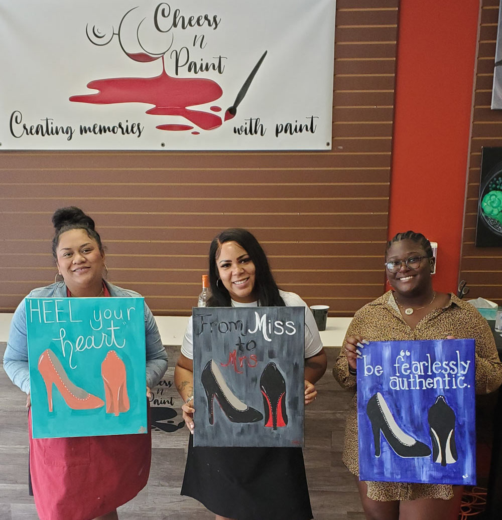Girls-Night-Out-Sip-And-Paint-Paint-Acrylic-Paint-Class-Cheers-And-Paint-Cary-Nc